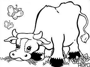 Coloriage Bebe Vache.La Vache Dans Le Pre Coloriage