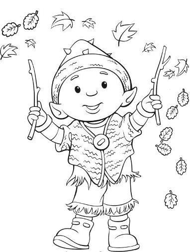 En automne le lutin et les feuilles - Coloriage de lutin ...