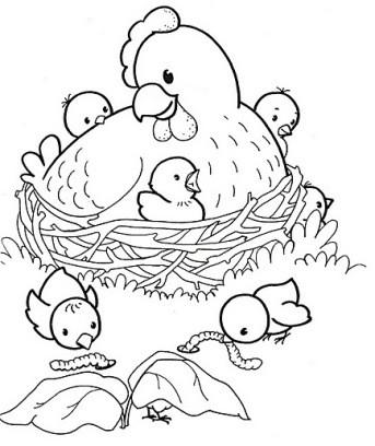 Pâques La Poule Et Ses Poussins
