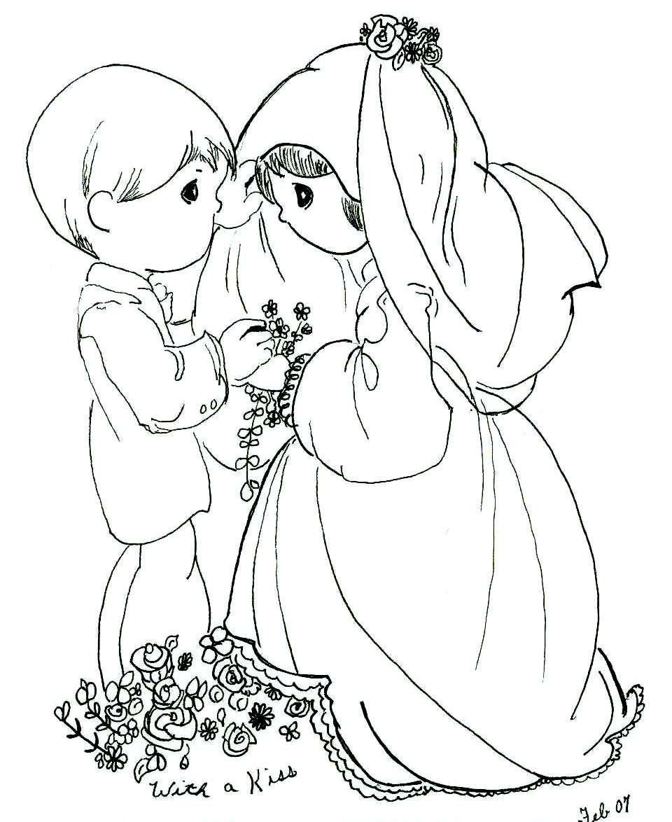 Cute Couple Precious Moments Pages Coloring Pages