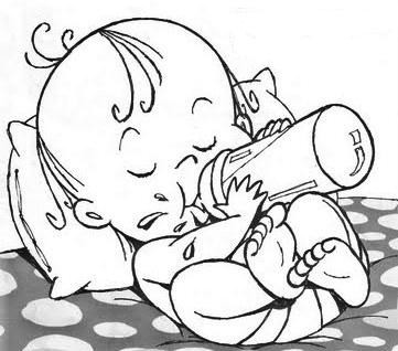 Coloriage Bebe Qui Pleure.Bebe Son Biberon