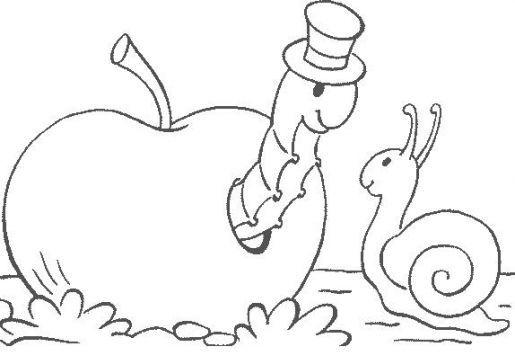Coloriage Escargot Automne.La Chenille Et L Escargot