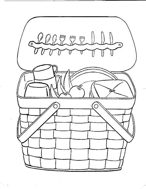 Coloriage le panier du pique-nique