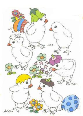 Coloriages paques page 9 - 4 images 1 mot poussin lapin ...