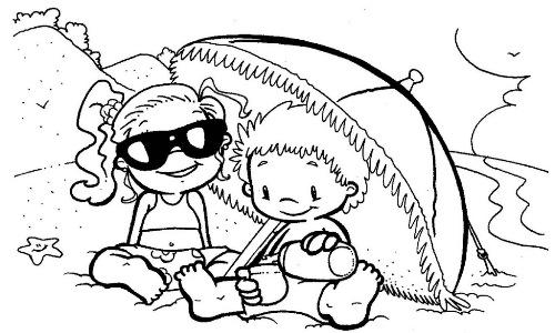 Enfants sous le parasol - Coloriage d ete ...